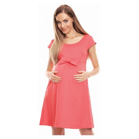 Koralové tehotenské šaty 0129 PeeKaBoo