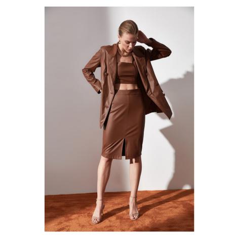 Trendyol Brown Leather Looking Skirt