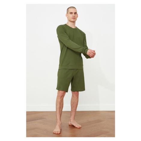Trendyol Khaki Waffle Knitted Pyjama Set