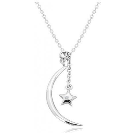 Diamantový náhrdelník, striebro 925 - lesklý polmesiac a hviezda s briliantom
