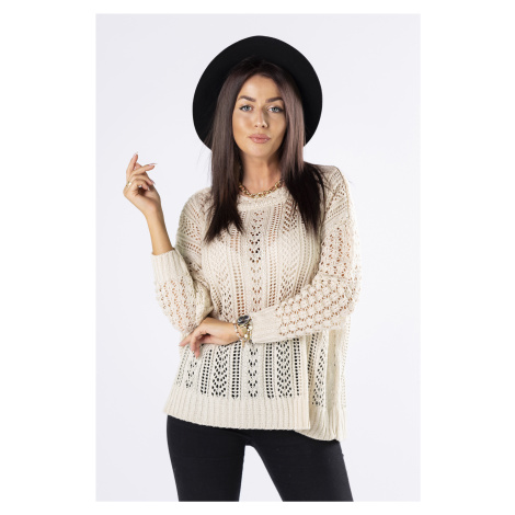 Dámsky béžový dierkovaný sveter