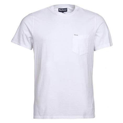 Barbour Tričko s náprsným vreckom Barbour Logo Pocket - biele