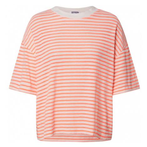 DRYKORN Tričko 'Lunie'  oranžová / biela