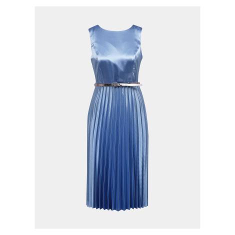 Dorothy Perkins modré saténové šaty s plisovanou sukňou