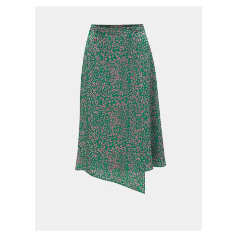 Zelená vzorovaná zavinovacia sukňa Miss Selfridge