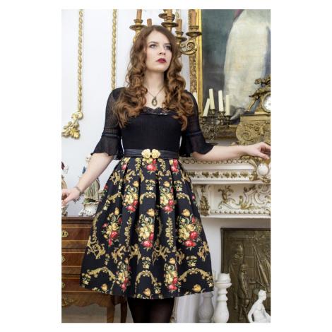 Čierna vzorovaná midi sukňa Baroque Roses