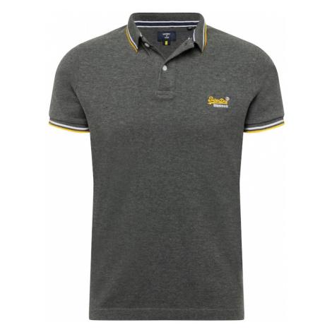 Superdry Tričko  tmavosivá / biela / žltá