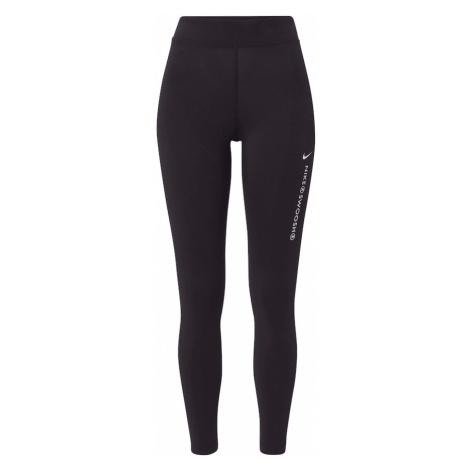 NIKE Športové nohavice 'Swoosh'  čierna / biela