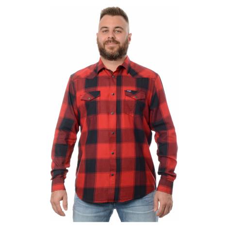 Košeľa Wrangler Western Shirt Red pánska červeno-čierna