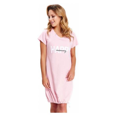 Materská nočná košeľa Happy Mommy ružová zips