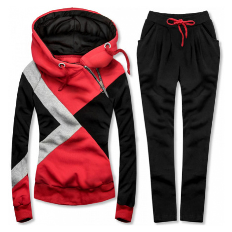 Trojfarebná tepláková súprava červená/čierna/sivá