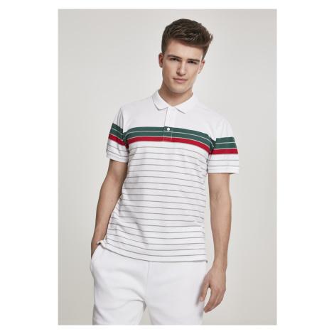 Pánska košeľa s krátkym rukávom URBAN CLASSICS Classic Stripe Polo wht/darkfreshgreen/firered/gr