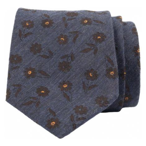 John & Paul Modrá kravata s hnedými kvetmi John & Paul z viskózy a hodvábu