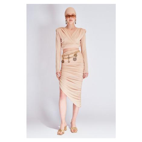 Koton Beige Silvery Draped Skirt