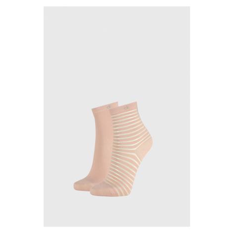 2 PACK dámskych ponožiek Calvin Klein Lilly ružové ružová