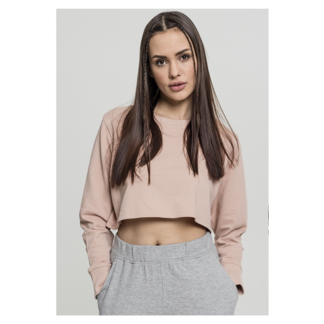 Dámska crop top mikina URBAN CLASSICS Ladies Terry Cropped Crew lightrose