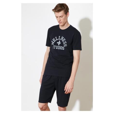 Trendyol Navy Print Knitted Pyjama Set