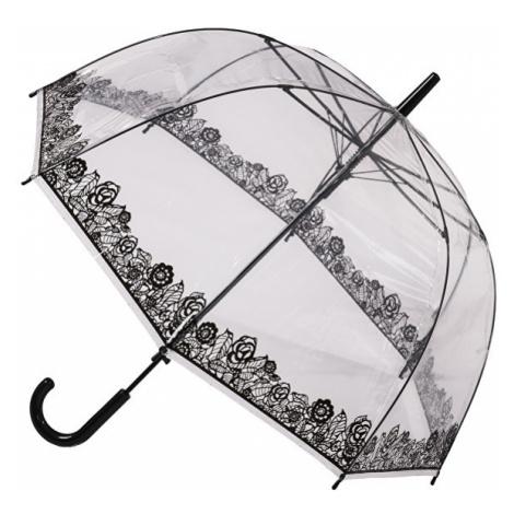Blooming Brollies Dámsky priehľadný palicový dáždnik Clear Dome Stick with Black Lace Effect POE