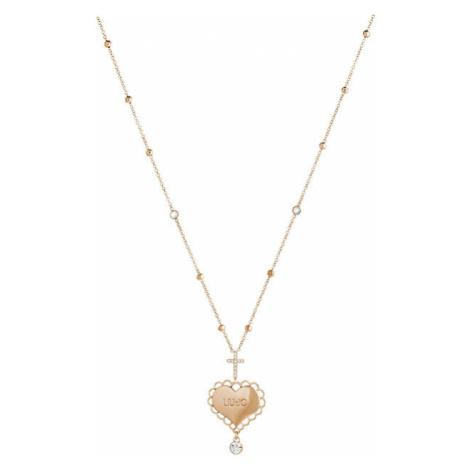 Liu.Jo Ružovo pozlátený oceľový náhrdelník so srdiečkom a krížikom LJ1448