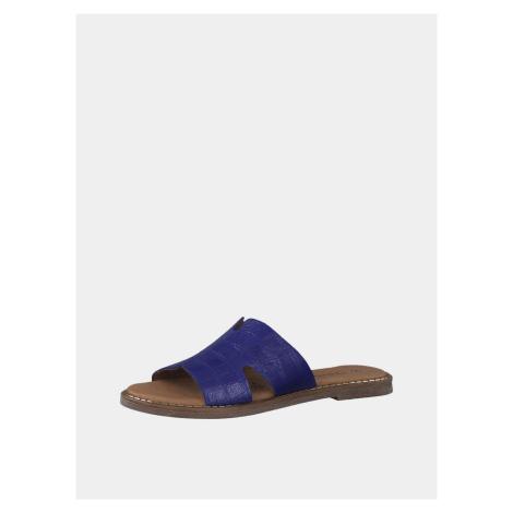 Modré kožené šľapky s krokodílím vzorom Tamaris