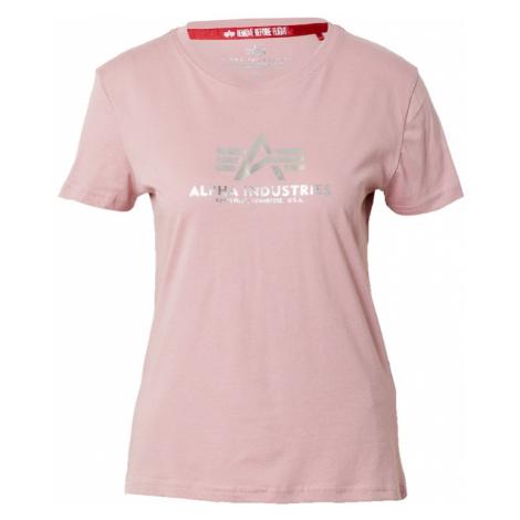 ALPHA INDUSTRIES Tričko  svetloružová / strieborná