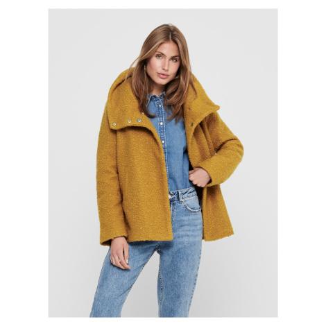 Horčicový krátky kabát Jacqueline de Yong Sonya
