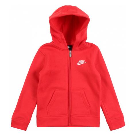Nike Sportswear Tepláková bunda 'Club'  červená / biela