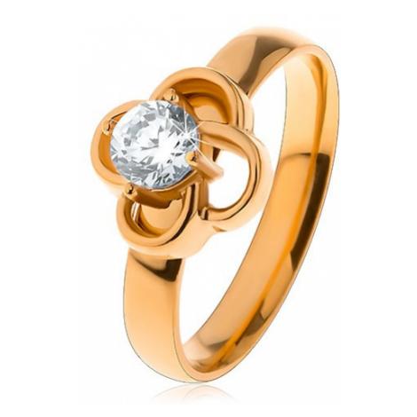 Lesklý oceľový prsteň v zlatom odtieni, obrys kvietka s čírym zirkónom - Veľkosť: 60 mm