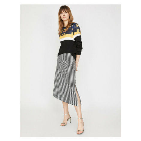 Koton Women Black Normal Waist Midi Striped Skirt