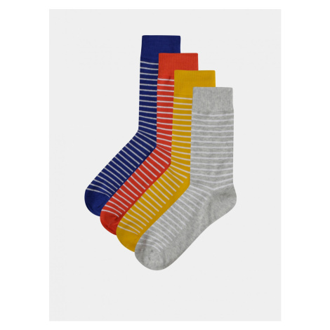 Set of four pairs of striped socks in mustard and grey Jack & Jones Multi Jack & Jones