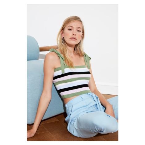 Trendyol Mint Striped Knitwear Blouse