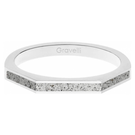 Gravelli Oceľový prsteň s betónom Three Side oceľová / sivá GJRWSSG123 mm