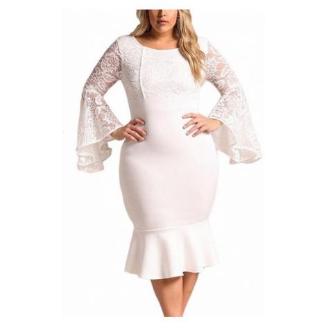 Bodycon plus size šaty Cameron - biele