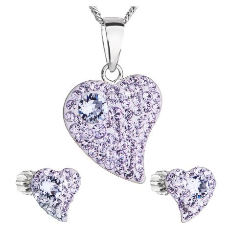 Sada šperkov s krištálmi Swarovski náušnice,retiazka a prívesok fialové srdce 39170.3