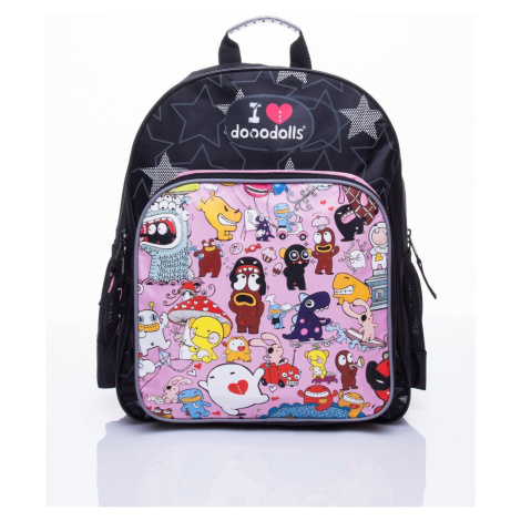 Black school backpack with a Dooodolls motif