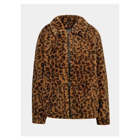 Hnedá bunda s leopardím vzorom a umelým kožúškom Noisy May Gabi