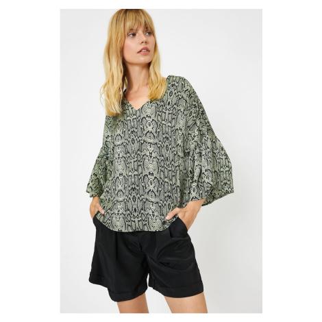 Koton Women's Green Snake Skin Patterned Blouse