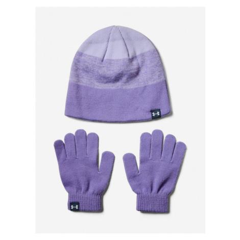 Čiapky a rukavice Under Armour Girls Beanie Glove Combo-Ppl Fialová