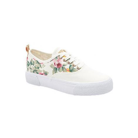 Biele plátenné tenisky na platforme s kvetinovým vzorom Fila