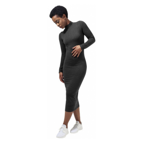 Urban Classics Ladies Turtleneck L/S Dress charcoal - Veľkosť:L
