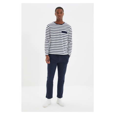 Trendyol Navy Blue Men's Regular Fit Striped Top Pajamas Set