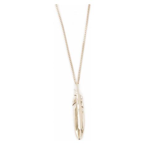 Fossil Pozlátený oceľový náhrdelník s pierkom JF03381710