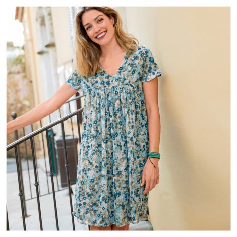Blancheporte Voálové šaty s potlačou khaki/modrá