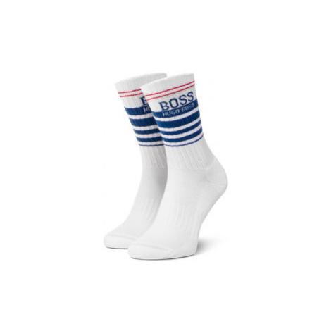 Boss Vysoké pánske ponožky Qs Rib Stripe Cc 50425485 Biela Hugo Boss