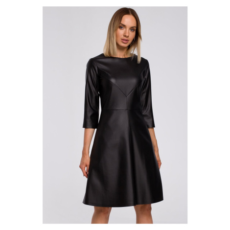 Čierne šaty z eko kože M541 Moe