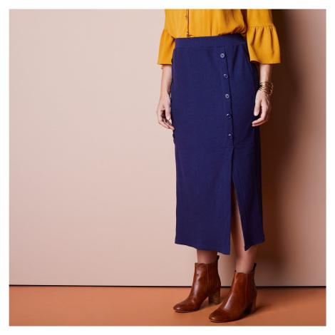 Blancheporte Polodlhá sukňa s gombíkmi nám.modrá