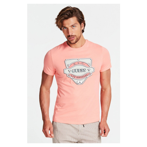 Guess lososové pánske tričko Stampa Piazzata