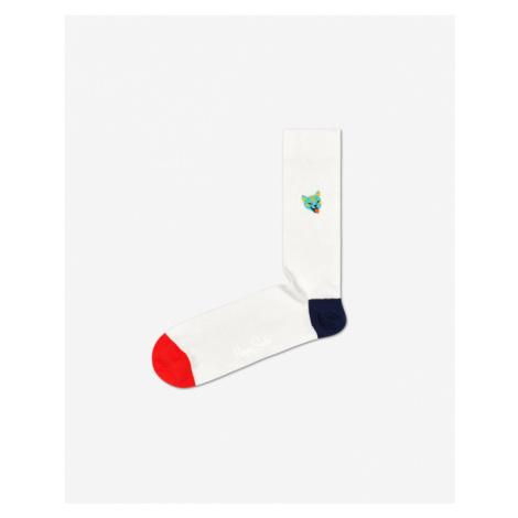 Happy Socks Ribb Embroidery Cat Ponožky Biela