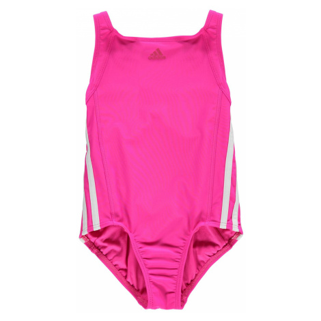 Adidas Three Stripe Swimsuit Junior Girls Real Pink