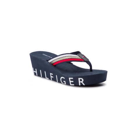 TOMMY HILFIGER Žabky Iconic Wedge Beach Sandal FW0FW03866 Tmavomodrá